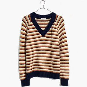 Madewell Arden v neck sweater in stripe NWOT